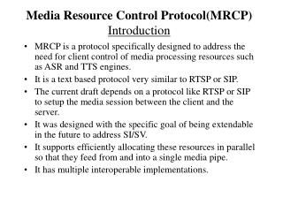 Media Resource Control Protocol(MRCP) Introduction