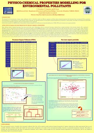 PHYSICO-CHEMICAL PROPERTIES MODELLING FOR ENVIRONMENTAL POLLUTANTS