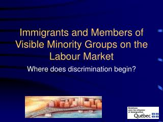 Immigrants and Members of Visible Minority Groups on the Labour Market