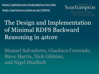 The Design and Implementation of Minimal RDFS Backward Reasoning in 4store