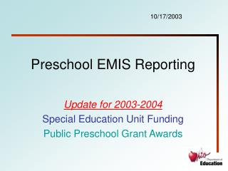 Preschool EMIS Reporting