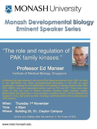 Monash Developmental Biology Eminent Speaker Series