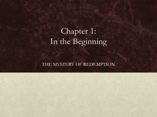 Chapter 1:  In the Beginning