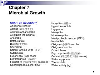 Chapter 7  Microbial Growth