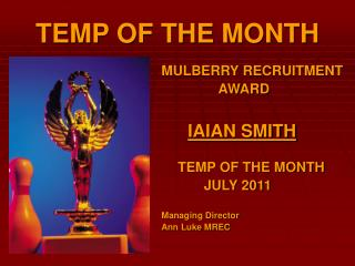 TEMP OF THE MONTH