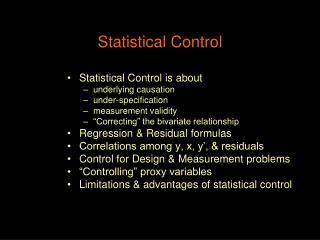 Statistical Control