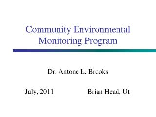 Community Environmental Monitoring Program