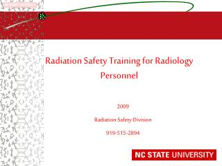 Radiation Safety Training for Radiology Personnel
