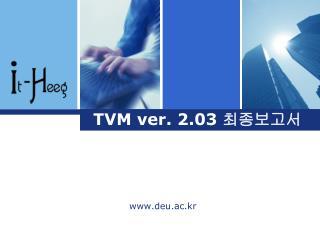 TVM ver. 2.03  최종보고서