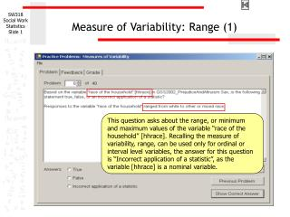 Measure of Variability: Range 1