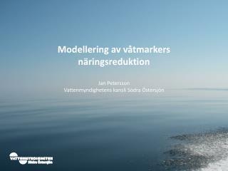 Modellering av våtmarkers  näringsreduktion Jan Petersson