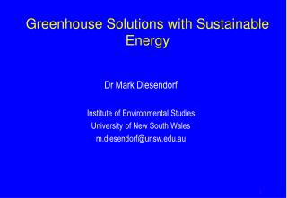 Greenhouse Solutions with Sustainable Energy
