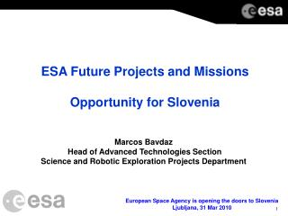 ESA Future Projects and Missions Opportunity for Slovenia