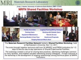 MRFN Shared Facilities Workshop