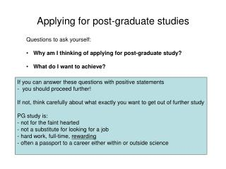 Applying for post-graduate studies