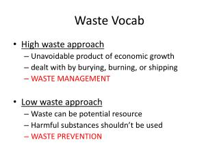 Waste Vocab