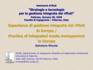 Seminario  ATReA �Strategie e tecnologie  per la gestione integrata dei rifiuti�