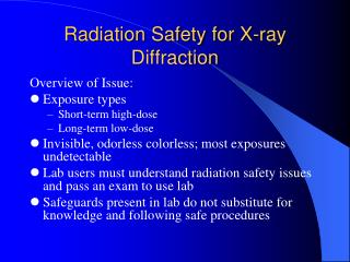 Radiation Safety for X-ray Diffraction
