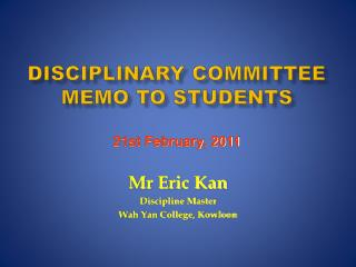 Disciplinary Committee  Memo to Students