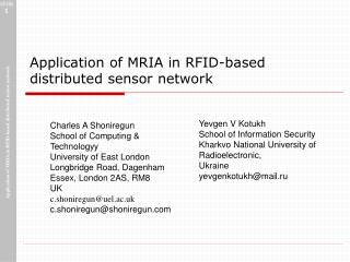 Application of  MRIA  in RFID-based distributed sensor network