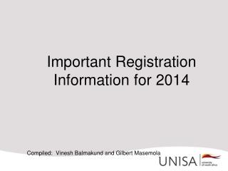 Important Registration Information for 2014