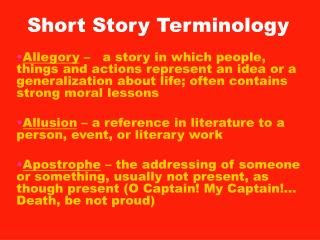 Short Story Terminology