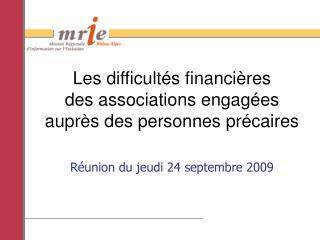 Les difficultés financières  des associations engagées  auprès des personnes précaires
