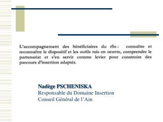 Nadège PSCHENISKA Responsable du Domaine Insertion Conseil Général de l'Ain