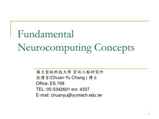Fundamental Neurocomputing Concepts