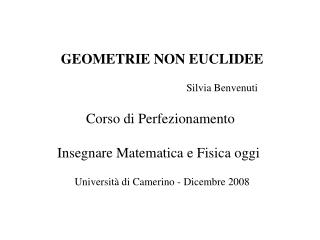 GEOMETRIE NON EUCLIDEE                                              Silvia Benvenuti Corso di Perfezionamento  Insegnare