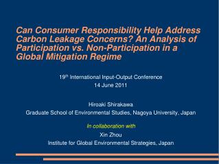 19 th  International Input-Output Conference 1 4  June 2011 Hiroaki Shirakawa