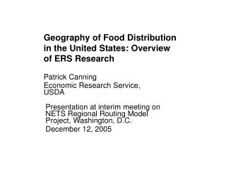 Geography of Food Distribution in the United States: Overview of ERS Research