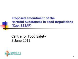 Proposed amendment of the  Harmful Substances in Food Regulations  (Cap. 132AF)
