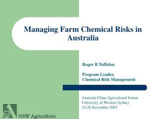 Managing Farm Chemical Risks in Australia