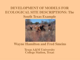 DEVELOPMENT OF MODELS FOR ECOLOGICAL SITE DESCRIPTIONS: The South Texas Example