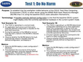 Test 1: Do No Harm