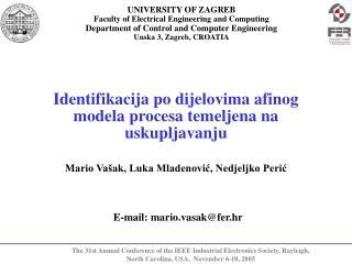 Identifikacija po dijelovima afinog modela procesa temeljena na uskupljavanju