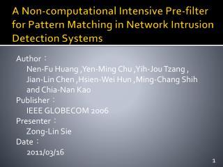 Author ?       Nen-Fu Huang ,Yen-Ming Chu ,Yih-Jou Tzang ,