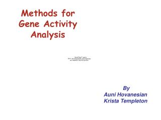 Methods for    Gene Activity       Analysis