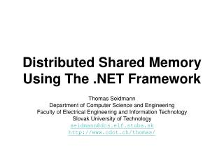 Distributed Shared Memory Using The .NET Framework