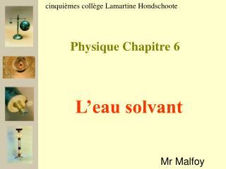 Physique Chapitre 6