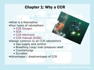What is a Rebreather Four types of rebreathers  CCR Oxygen  SCR  CCR electronic  CCR manual (KISS)