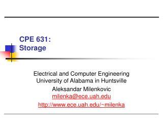 CPE 631:  Storage