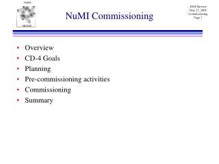 NuMI Commissioning