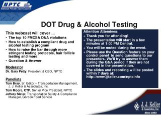 DOT Drug & Alcohol Testing