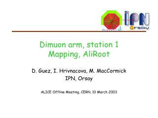 Dimuon arm, station 1 Mapping, AliRoot