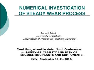 NUMERICAL INVESTIGATION OF STEADY WEAR PROCESS