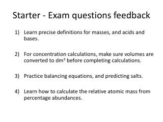 Starter - Exam questions feedback