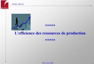 ***** L'efficience des ressources de production *****