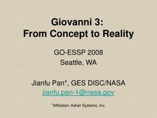 Giovanni 3:  From Concept to Reality
